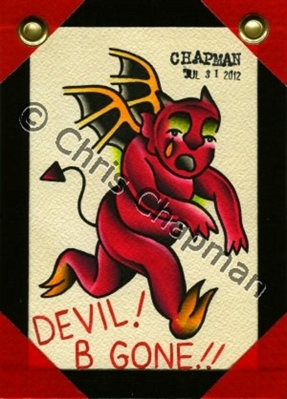 Devil B Gone Tattoo Flash