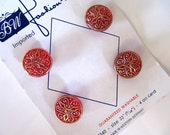 14mm Vintage Glass Buttons Red and Gold Fancy Shank Style, 9/16 in, 4 Buttons, NOS, Original Fashion Nite Card, Filigree Top, West Germany