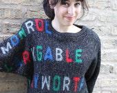 Sweater 1980s Vintage 80s MARILYN Monroe Clark GABLE Movie Star Sweater S M L