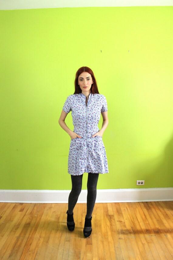 Dress 1940s 40s 1950s Full Skirt Rockabilly Cotton Front Zipper House Day Dress M L