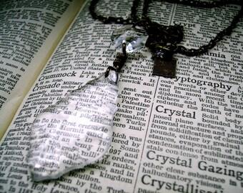 Vintage Chandelier Crystal Necklace Bronze - THE CRYSTAL CHANDELIER - unique to Altered Eras statement jewellery