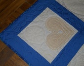 Custom Quilt Finishing: Vintage Doilies in Blue