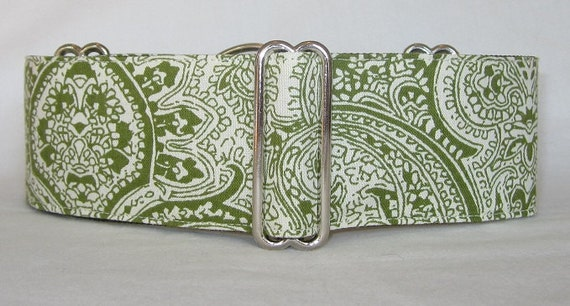 SALE LARGE ONLY Exotic Green Martingale Dog Collar - 2 Inch - olive cream elegant paisley