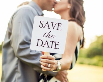Set of Save the Date Engagement Picture Signs - I Love Him & I Love Her More Custom Engagement Photo Props Bridal shower Photo Booth Props