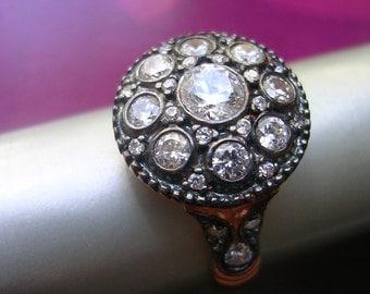 ALEXANDRA ring  mid century antique vintage diamond inspired sterling rose gold