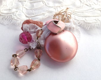 SALE!! Pink and Lace Upcycled Vintage Jewelry Wire Wrapped Button and Bead Brooch