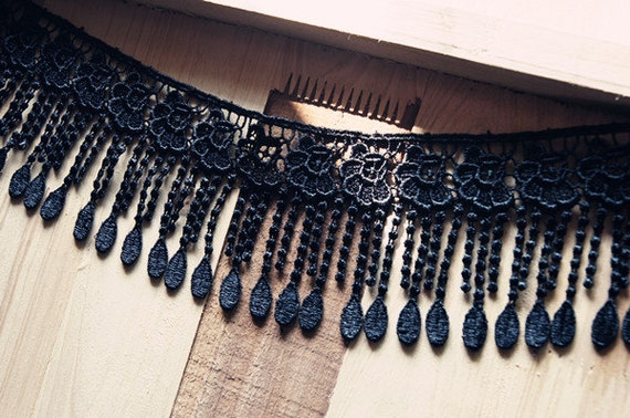 New 8cm black Sakura with tassels lace trim for Necklace Bracelet Design