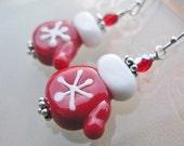 Artisan Lampwork Earrings - Red Snowflake Lampwork Mittens Czech Glass Sterling Silver - Smitten