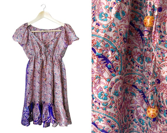 Silk paisley dress - indie boho - red blue taupe pattern - with beads
