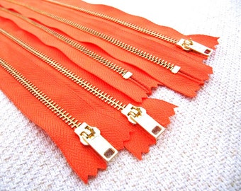 14inch - NectarOrange Metal Zipper - Gold Teeth - 5pcs