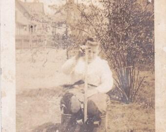 Lady in a Wagon - Vintage Photograph - Vernacular - Found Photo - Ephemera  (S)