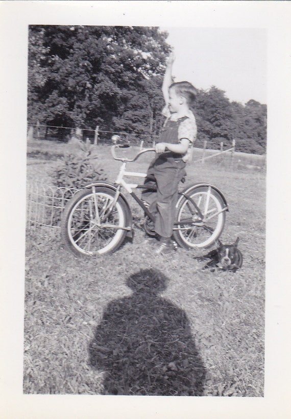 Boy and Bicycle Vintage Photograph (NN)