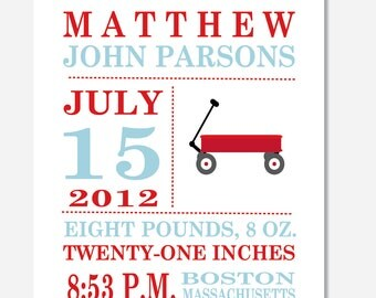 Little Red Wagon Birth Announcement Print -- 8 x 10 --