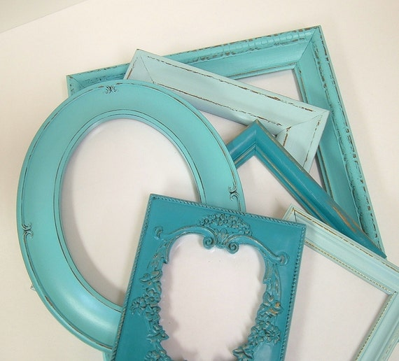 Shabby Chic Frames Picture Frame Set Aqua Turquoise Beach Wedding Shabby Chic Cottage Home Decor