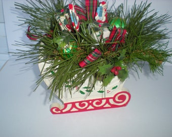 Vintage Wooden Christmas Sled Centerpiece