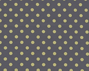 Citron and Gray Dumb Dot Pluto for Michael Miller, 1/2 yard