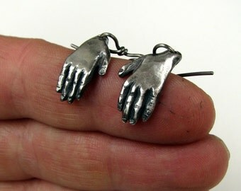 Frida Kahlo hand earrings silver