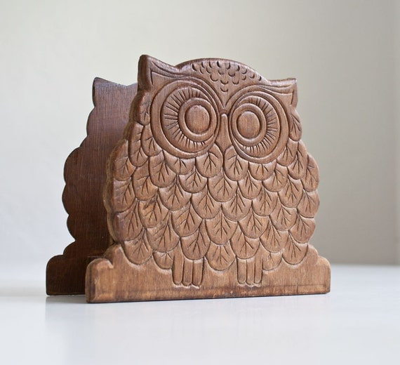1970s Wood Owl Napkin Holder
