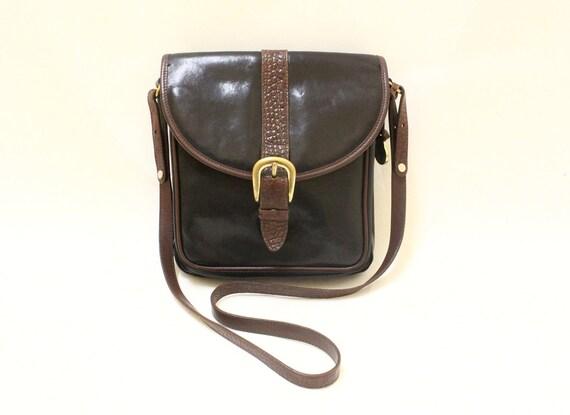 Vintage Black  Leahter and Alligator Leather Trim Cross Body Shoulder Bag By Brahmin