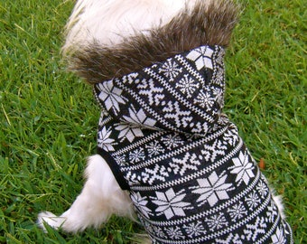 Fur Dog Hoodie, Snowflake