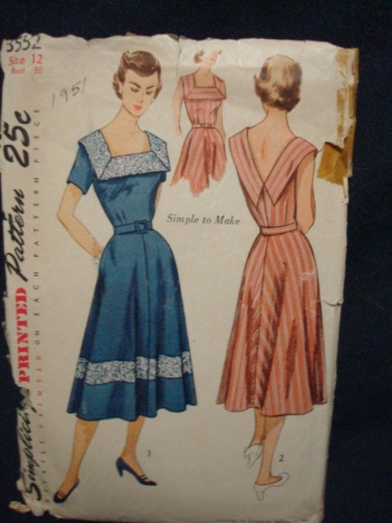 Lovely Neckline 1951 Sundress Simplicity 3552 Bust 30 Rockabilly Pattern