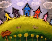 Crooked Houses Cat & Dog Post Card