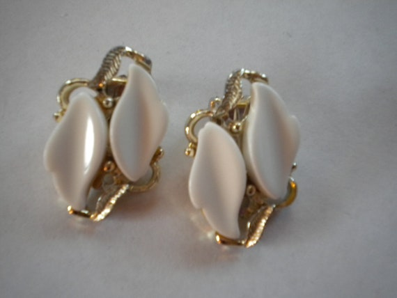White and Gold Tone Leaf Shaped Clip-On Earrings