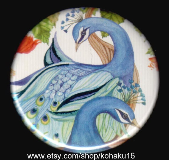 Pair of Peacocks Button