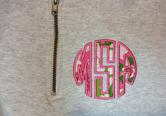 quarter zip applique monogram sweatshirt pullover