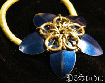 Scale Flower Hair Band or Ponytail Holder - Your Choice of Color