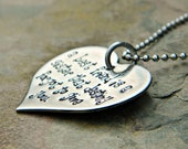 Handstamped Custom Friendship Necklace - Friendship Quote for BFFs Besties Sisters - Large Heart - Stainless Steel - Sterling Alternative