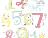 Watercolor Illustrated Numbers Wall Art Print