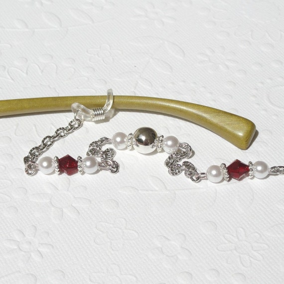 Eyeglass Chain - Red, White, Silver