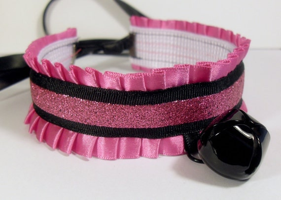 Black and Hot Pink Glitter Stripe Kitten Collar with Bell