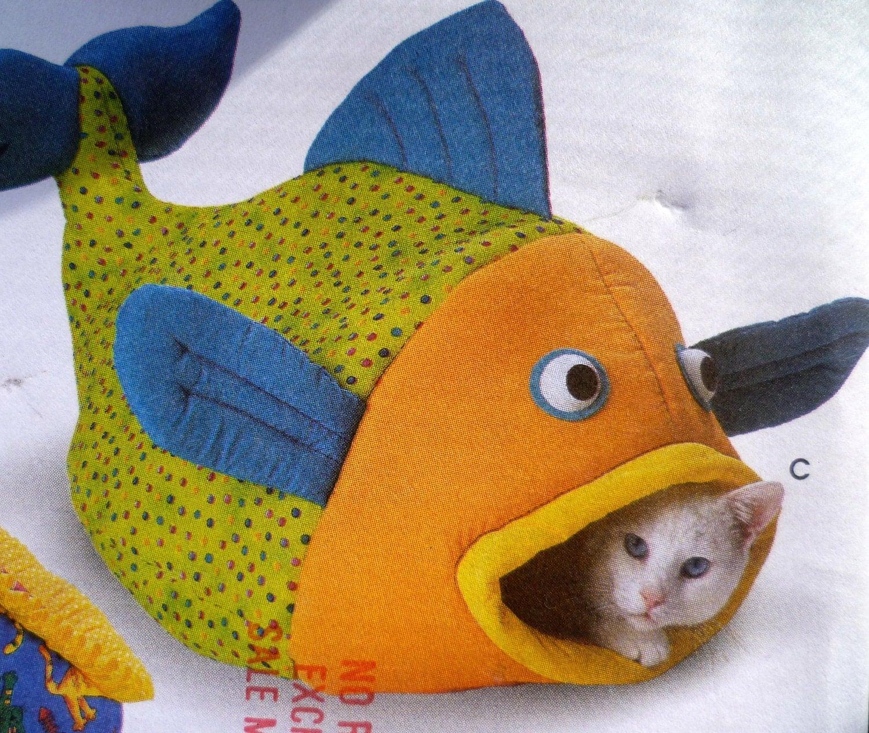 Cat housing pattern fish house tent house sewing pattern - Camas para gatos ...