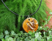 "Round Letter Pendant & Cord Necklace - Kiln-Fired Stoneware Clay - ""N"" - Amber Glaze"