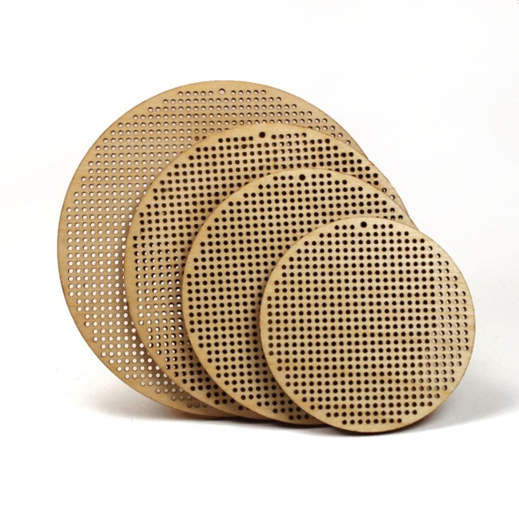 "2.5"" wooden cross stitch or needlepoint blank disc / pendant - diy"