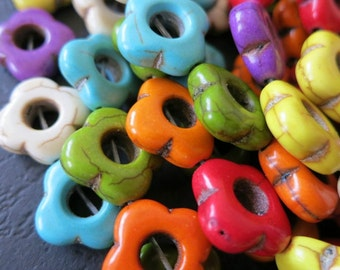 5 Str -Coloful Howlite Clover Flower Ring Beads 15mm- 26pcs/Strand