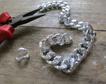 3ft Silver Aluminum twisted Textural LARGE Flat Oval Jewelry Chain 12.5x15.5mm - K9322