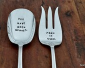 You Have Been Served - Fork it Over™.  Hand Stamped Vintage Serving Set -  Handstamped, Handmade Original Design by Sycamore Hill
