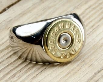 Bullet Ring / Men's Stainless Steel & Brass Bullet Ring ANY-#-BN-MSTAR / Bullet Stainless Steel Ring / Stainless Steel Men's Ring / Custom