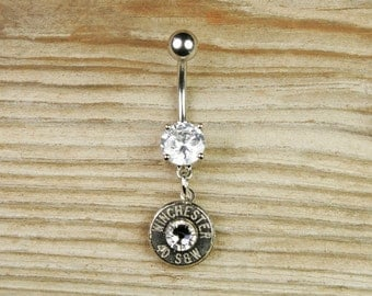 Belly Button Ring / Winchester Bullet Belly Button Ring WIN-#-N-DBR / Custom Belly Ring / Dangle Belly Button Ring / Crystal Belly Ring