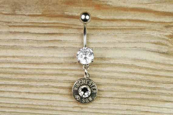 Belly Button Ring / Winchester® Bullet Belly Button Ring WIN-#-N-DBR / Custom Belly Ring / Dangle Belly Button Ring / Crystal Belly Ring