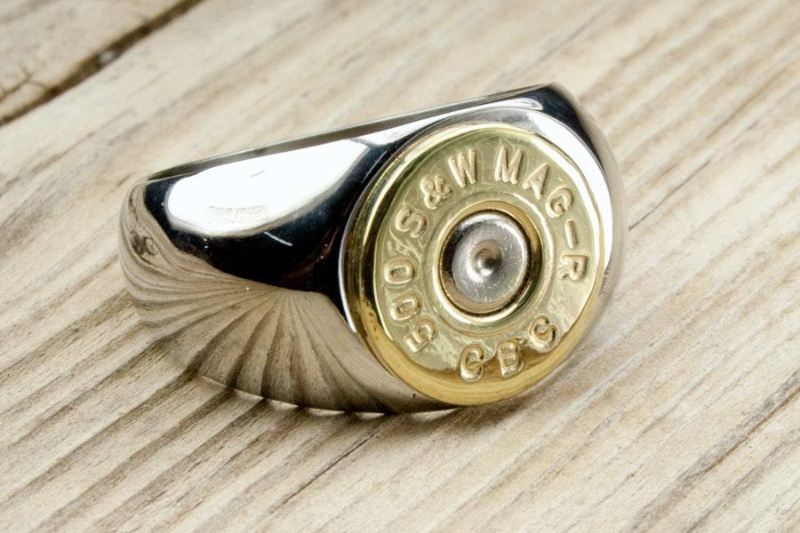 Bullet Ring Mens Stainless Steel Brass Bullet Ring