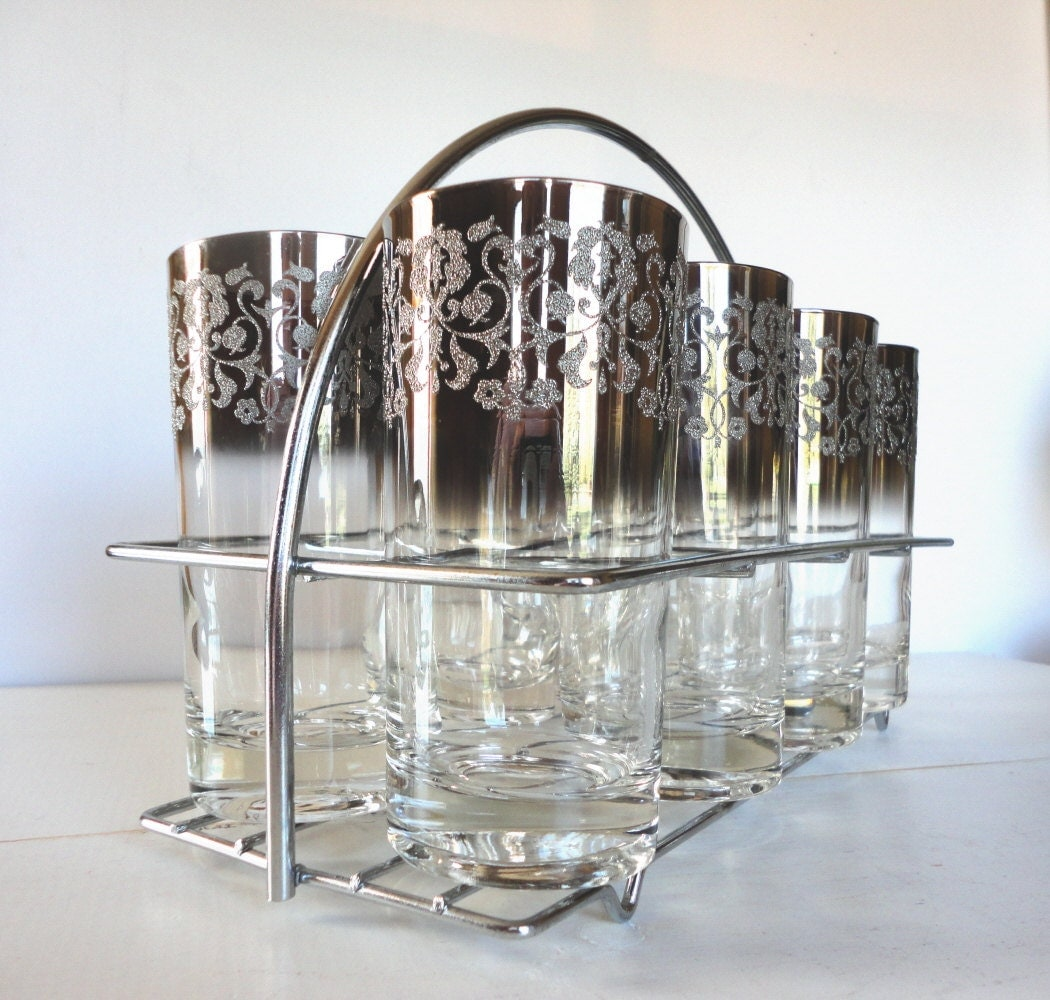 Sale 25% Off Silver Ombre Highball Glasses Set of 8 with Caddy