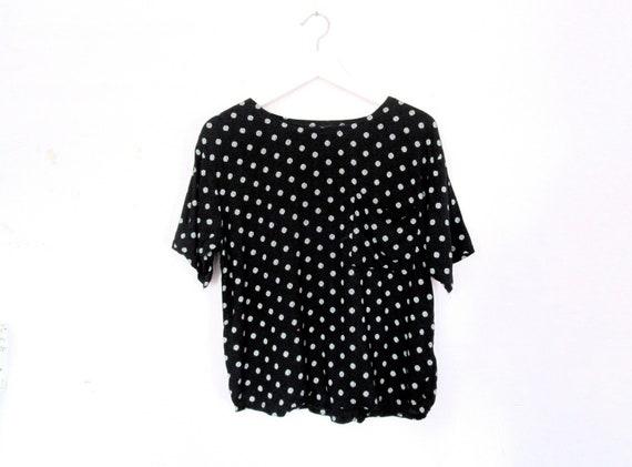 90's Polka dot cropped blouse size - M