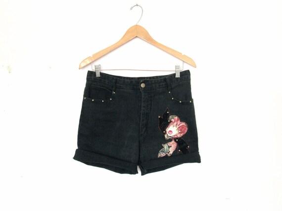 "80's High rise denim shorts size - L - 33"" waist"