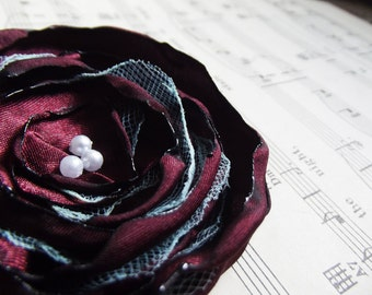 Hair Clip Brooch Barrette - Shabby Chic Fabric Flower in Wine Red and Aqua Blue - Sweet Remorse