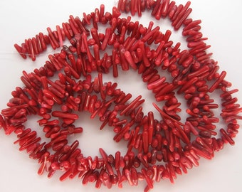 Charming Red Coral Stick Beads - 16 Inch Strand
