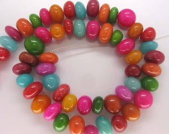 Beautiful Multicolor Jade Smooth Pebble Beads - 16 Inch Strand